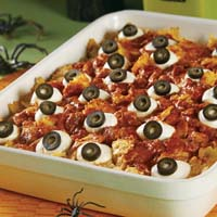 Creepy and Cheesy Halloween dinner — Baked Eyeballs Casserole
