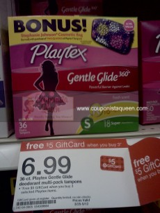 Deal | Up to 6 boxes of Playtex, a $5 Target gift card and a FREE cosmetic bag!! image