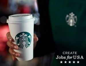 Deal | $5 for $10 at Starbucks, and Google Offers donates $3 to Create Jobs for USA! image