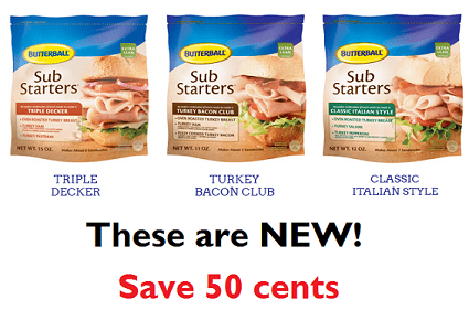 Coupon | Save 50 cents on New Butterball Sub Starters image