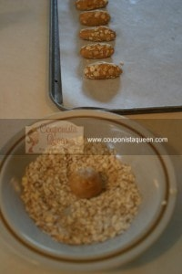 Cheesy Oat Biscuits Rolling Balls and on Cookie Sheet