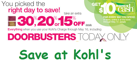 Deal | Save at Kohls Today 5/13 Only! image