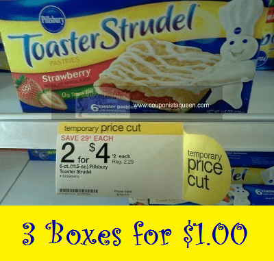 Extreme Deal | 3 Boxes of Pillsbury Toaster Strudel $1.00 ~ NO coupon needed!!