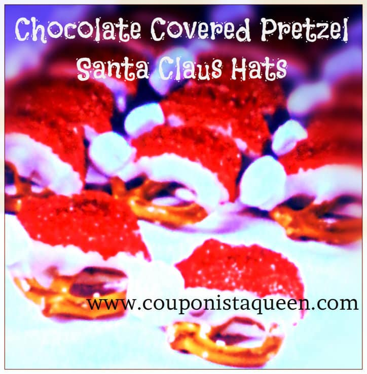 Chocolate Covered Pretzel Santa Claus Hats