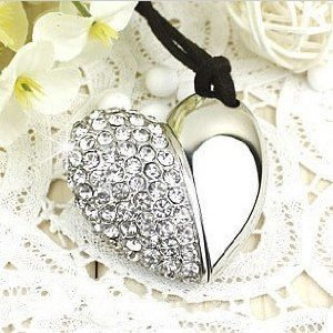 Crystal Heart Shape Jewelry USB Flash Drive with Necklace:8GB(Silver)  image