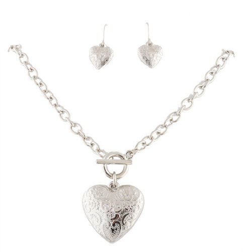 Ladies Silver Antique Style Heart Pendant with Matching Dangle Earrings Jewelry Set  $3.76 SHIPPED image