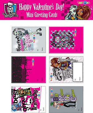 Free Printable Valentine Mini Cards, Monster High, Hello Kitty and more!