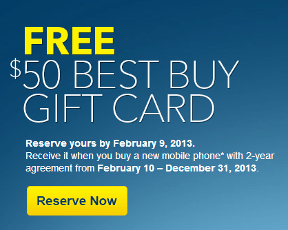 $50 Best Buy Gift Card Cell Phone Promotion