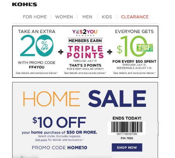 Kohl's home sale 10 coupon