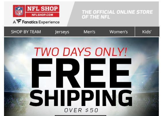 Expires Dec 3. EXPIRING SOON Get up to 65% off and free shipping on orders of at least $39 at the NFL Shop with this promo code.