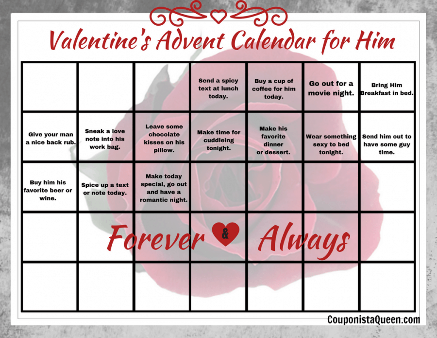 Calendar Ideas For Him : Printable just for you days of valentine s calendars